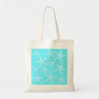 Starfish Pattern in Turquoise and White. Tote Bag