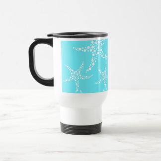 Starfish Pattern in Turquoise and White. Travel Mug