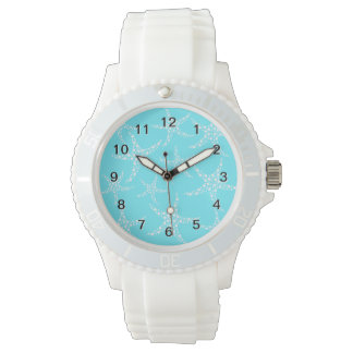 Starfish Pattern in Turquoise and White. Watch