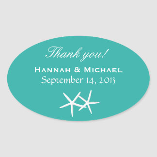 Starfish Personalized Lagoon Blue Oval Favor Label Sticker