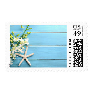 Starfish Postage Stamps With Orchids