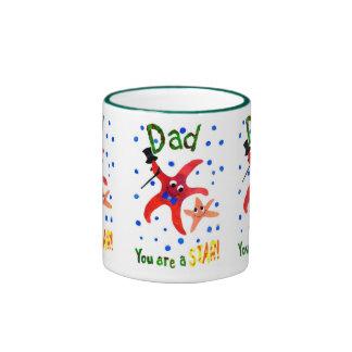 Starfish Ringer Mug, Father's Day Gift Ringer Mug