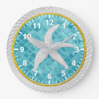 Starfish Rope Blue Aqua Glass Large Clock