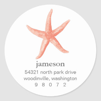 Starfish Round Address Label Stickers