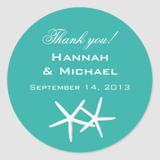 "Starfish Round ""Thank You"" Reception Favor Labels"