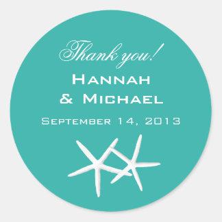 """Starfish Round """"Thank You"""" Reception Favor Labels Round Sticker"""