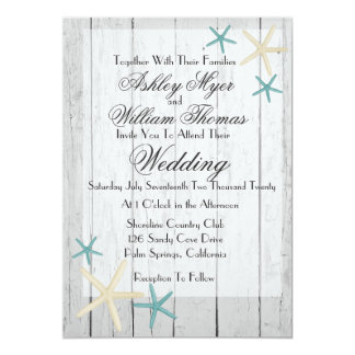 Starfish Rustic Beach Wedding Invitation