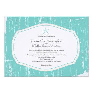 Starfish Rustic Beach Wedding Invitations