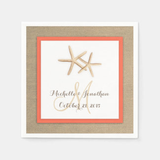 Starfish Rustic Burlap Beach Wedding Napkin Disposable Serviettes
