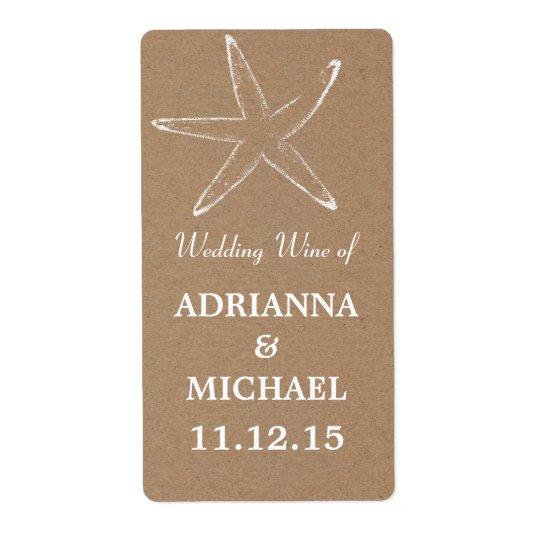 Starfish Rustic Kraft Paper Wedding Wine Shipping Label
