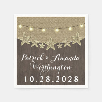 Starfish Rustic Lights Beach Wood Wedding Napkins Paper Napkins