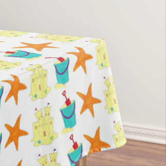 Starfish Sandcastle Sand Pail Summer Beach Print Tablecloth