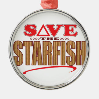 Starfish Save Silver-Colored Round Decoration