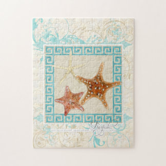 Starfish Sea Shells Ocean Greek Key Pattern Beach Puzzles