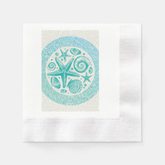 Starfish & Seashells Circle Disposable Serviettes