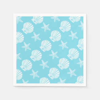 Starfish shell beach theme blue paper serviettes
