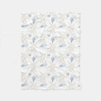 Starfish Shell White Blue Beach Fleece Blanket