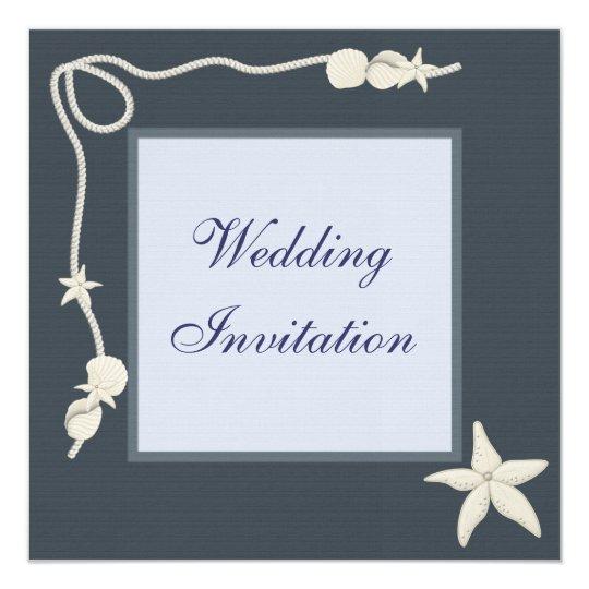 Starfish & Shells Beach Wedding Linen Invites