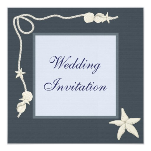 Starfish & Shells Beach Wedding Linen Invites 13 Cm X 13 Cm Square Invitation Card