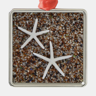 Starfish skeletons on Glass Beach Silver-Colored Square Decoration