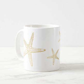 Starfish Sketch Beach Seashell Lover Mug