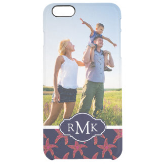 Starfish Style Pattern| Your Photo & Monogram Clear iPhone 6 Plus Case
