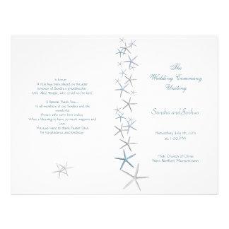 Starfish, Summer Wedding Program Template, Folded Flyer