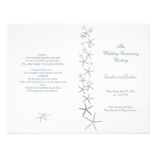 Starfish, Summer Wedding Program Template, Folded Flyer Design