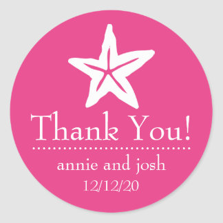 Starfish Thank You Labels (Dark Pink)