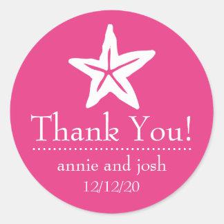 Starfish Thank You Labels (Dark Pink) Round Sticker