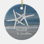 Starfish Together At Christmas Ornament, 2 Round Ceramic Decoration