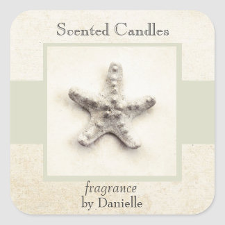 Starfish tranquil sea home made candle label square sticker