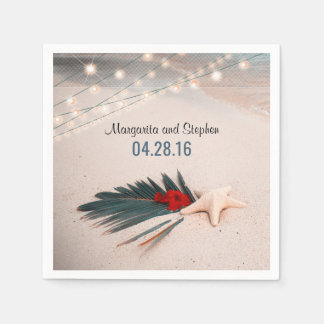 Starfish Tropical Destination Wedding Paper Serviettes