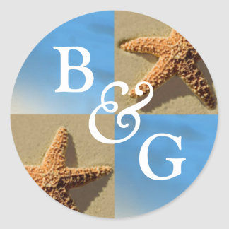 Starfish Tropical Event And Wedding Envelope Seal Round Sticker