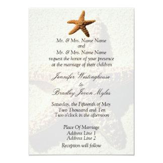 "Starfish Tropical Wedding Invitations 5"" X 7"" Invitation Card"
