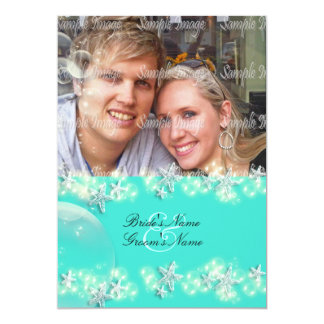 Starfish turquoise blue white wedding 5x7 paper invitation card