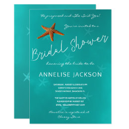 Under the sea bridal shower invitations announcements zazzle starfish under the sea ocean blue bridal shower card filmwisefo Images