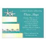 Starfish Wedding Cake Bridal Shower Invites - Teal 13 Cm X 18 Cm Invitation Card