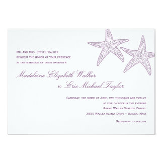 Starfish Wedding Invitation - Purple