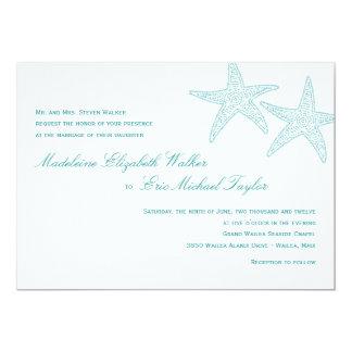 Starfish Wedding Invitation - Turquoise Announcement