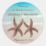 Starfish Wedding Ocean Thank You Favour Labels Round Sticker