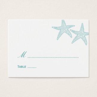 Starfish Wedding Place Card - Turquoise