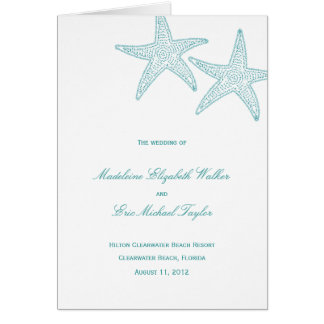 Starfish Wedding Program Card Greeting Cards