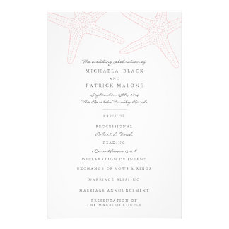 Starfish Wedding Programs 14 Cm X 21.5 Cm Flyer