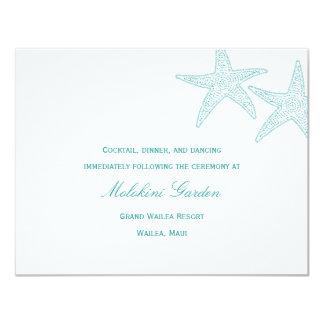 Starfish Wedding Reception Card - Turquoise 11 Cm X 14 Cm Invitation Card