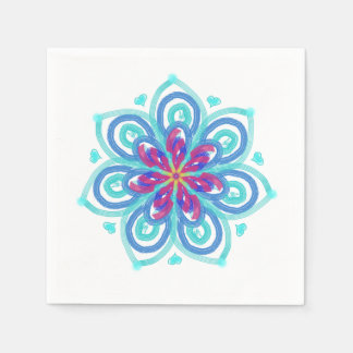 Starflower in mint green and crimson disposable napkins