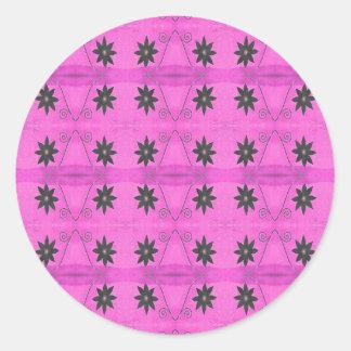 starflowers pink round sticker