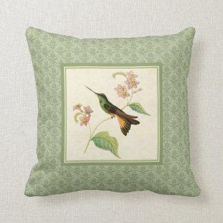 Starfrontlet Hummingbird Damask Pillow