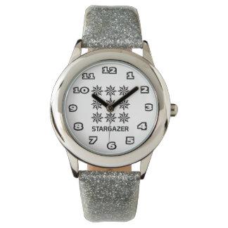 StarGazer Kid's Silver Glitter Watch