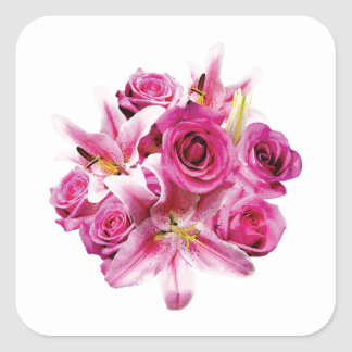 Stargazer Lilies and Roses Square Sticker